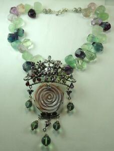 Statement Fluorite Necklace &  MOP  Flower  Multi-Gems Sterling Mother of Bride