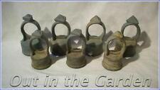 7 Vintage Iron Post Caps Rail Finials 3-Sided Pyramid Galvanized Steel  NOT Alum