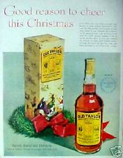 1949 Old Taylor Whiskey Bottle Christmas Holiday Season Wreath Box Art Trade AD