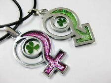 pair of Cool Real Four Leaf Clover Boy&Girl super lucky Design pendant&necklace