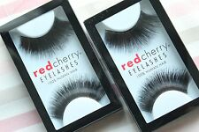 2x Red Cherry HAZEL #199 falsche künstliche schwarze Echthaar-Wimpern strip lash