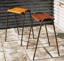 Reclaimed School Stacking Stools - Hardwood Seat