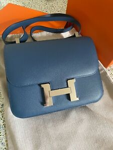 Authentic Hermes Constance 24 PHW Stamp A excellent Epsom bleu agate