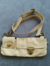 MANGO Leather Crossbody Bag Purse Beige Small