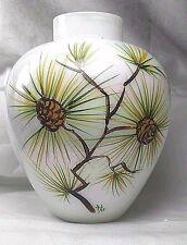"Vintage IRIDESCENT ART GLASS FLOWER VASE Hand Painted HM Signed Acorns 6"""