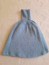 Manteau cape de bébé à capuche bleue tricotée VINTAGE Knitted baby cape