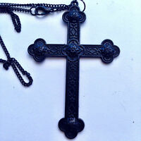 """Large Black Martyrs Medieval Cross  Necklace Gothic 20"""" Halloween"""