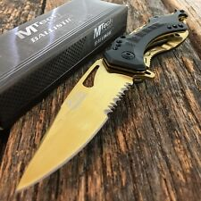 """8"""" M-Tech Gold Tactical Rescue Spring Assisted Open Folding Pocket Knife -F"""