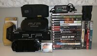 Sony PlayStation Portable PSP HUGE Bundle Console 16 Games 4 Movies Case Charger