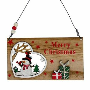 Merry Christmas Wooden Hanging Plaque with Snowman in Heart