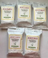 5 Burts Bees Sensitive Skin Facial Cleansing Towelette Wipes 10 ct Travel Cotton