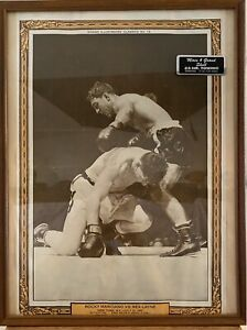 Vintage Boxing Picture Rocky Marciano Vs Rex Layne July 1951 Framed Rare