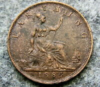 GREAT BRITAIN QUEEN VICTORIA 1884 FARTHING, HIGH GRADE BRONZE