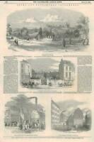 1849 Antique Print - LONDON Norwood Cemetery St Martins Drury Lane Lambeth (171)