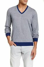 BEN SHERMAN Geo Cotton V-Neck Sweater in Persian Blue Marl Sz.Medium  NWT $95
