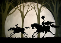 Print folk art painting THE CHASE Sleepy Hollow Headless horseman Halloween DC