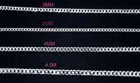 925 Sterling Silver Solid Cuban Curb Link Necklace Silver 2,3,4,4.5 MM