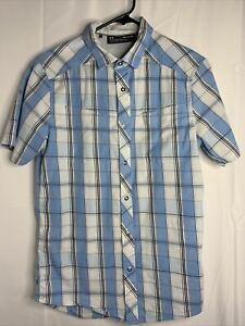 Under Armour Button Shirt Mens Small Blue Plaid Short Sleeve Loose Outdoor