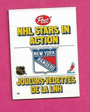 RARE 1981-82 NY RANGERS  ACTION PLAYER POST CARD (BARRY BECK ) (INV# C4156)