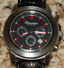 ROUSSEAU CODA MENS AUTOMATIC WATCH NEW FREE USA S-H BLACK LEATHER
