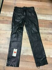 Attractive Unisex Cowhide Black Leather Motorcycle Pants/Jeans 756-NK  #0126