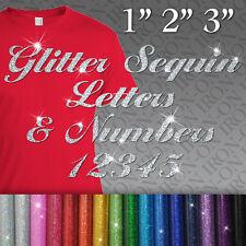 Script Glitter Letters & Numbers IRON-ON Hot Fix FABRIC TRANSFER Custom Sticker