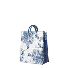 Printed Paper Gift Present Bag LINEN ROSES Blue Elegant Flowers Medium / D