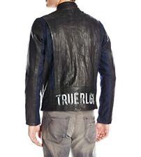 True religion mens leather and denim racer jacket size L