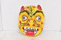 vintage Mexican Folk Art Carved Wood Leopard Mask carnival Mexico Guerrero