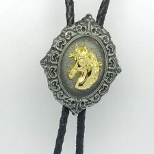 Leather Rope Chain Gold Horse Head Vintage Bolo Tie Necklace Apparel Accessories