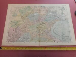 100% ORIGINAL LARGE CITY OF  EDINBURGH SCOTLAND MAP   BY  BACON C1886 VGC