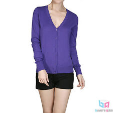 New Women's Long Sleeve V Neck Sweater Cardigan Blouse Top Solid Colors S, M, L