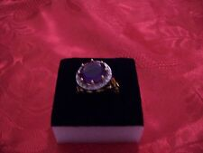WOMENS 14K YELLOW GOLD OVERSTERLING SILVER RING 18 DIAMOND S5.50 AMETHYST