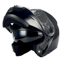 1STorm Commander DOT Motorcycle Full Face Helmet Modular Flip up Sun Visor Black