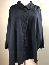 ROAMAN'S Plus Size 6X Black Cotton Blend Button Front Shirt
