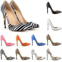 Sexy Womens Animal Print  Party Shoes Stilettos Pointy Toe High Heel Court Shoes