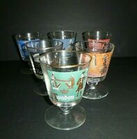 Vintage Set 6 Libbey International Cities Travel Retro Drinking Goblet Glasses