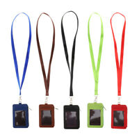 2-Sided PU Leather ID Badge Card Holder Zipper Name Tag Holder with Lanyard