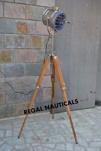 Natural Wood Tripod Floor Searchlight Nautical Marine Home Decor