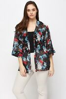 Womens Plus Size 16 - 24 New Sheer Floral Print Kimono Cardi Jacket Top Ladies