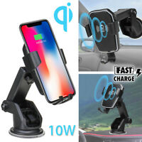 10W QI Wireless Fast Charger Cell Phone Charging Dock Car Mount Gravity Holder