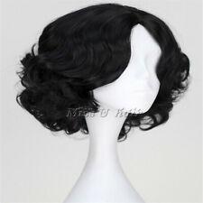 Disney Princess Snow White Short black Curly Cosplay Anime Wig heat-resisting