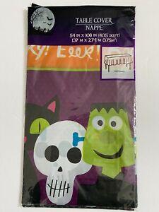 Plastic Tablecloth Tablecover Halloween Witch Frankenstein Pumpkin 54x108 NIP