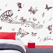 Murales pared Pegatina de pared Sticker Music note mariposa f002
