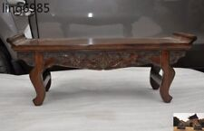 Old China Huanghuali Wood hand carved wealth bats statue ancient Tea Table Desk