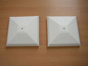 """2 x WHITE PLASTIC FENCE POST TOP 4""""/100MM"""