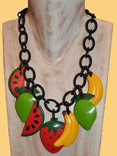 Resin Charm Necklace With Fruit Charms French Designer Fab Chunky Multi Color