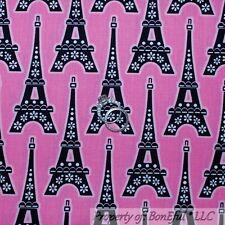 BonEful FABRIC FQ Cotton PINK B&W White Black Dot Paris Euro Eiffel Tower Flower