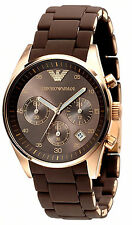 NEW EMPORIO ARMANI AR5891 ROSE GOLD LADIES CHRONOGRAPH WATCH - 2 YEAR WARRANTY