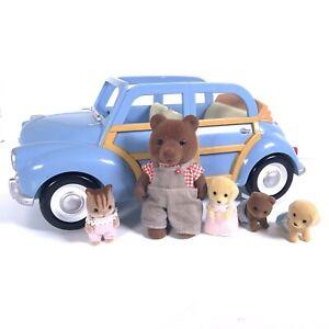 Sylvanian Families Blue Morris Minor car Figures Timber Top Brown Bear Babies